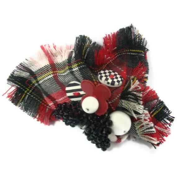 Red,black,white tartan brooch
