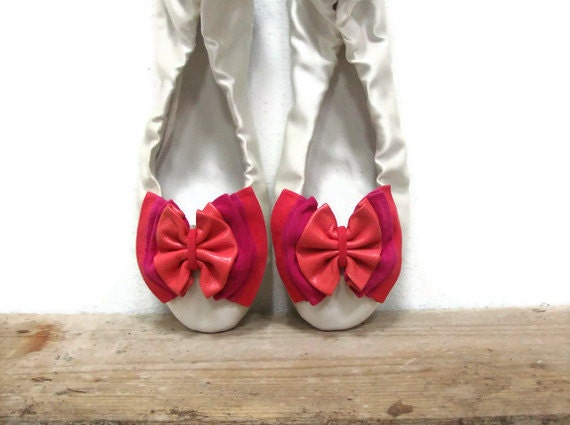 Fuchsia,Coral,Apricot Leather Bow Shoe Clips