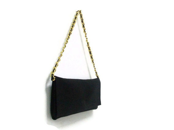 Black Leather Bag Purse Clutch, with gold chain