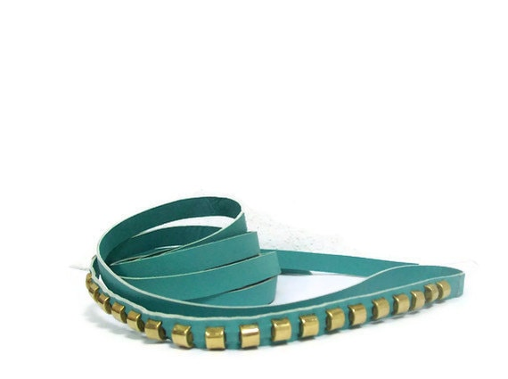 Turquoise leather long belt with gold studs