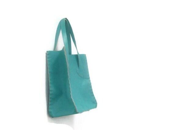 Turquoise leather Mini shopper tote bag-OOAK