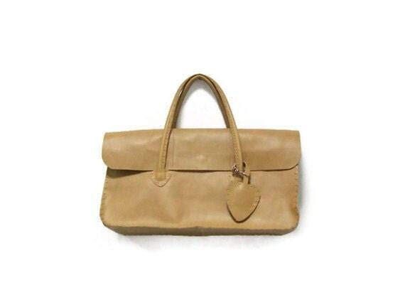 Natural leather letter handbag / rectangular purse