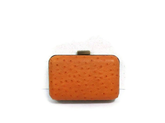 Orange Ostrich Printed leather Clutch