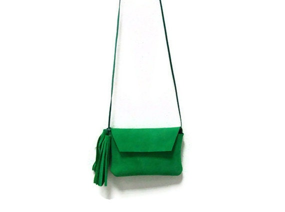 Green Leather iPhone or iPod Pouch-Purse-OOAK