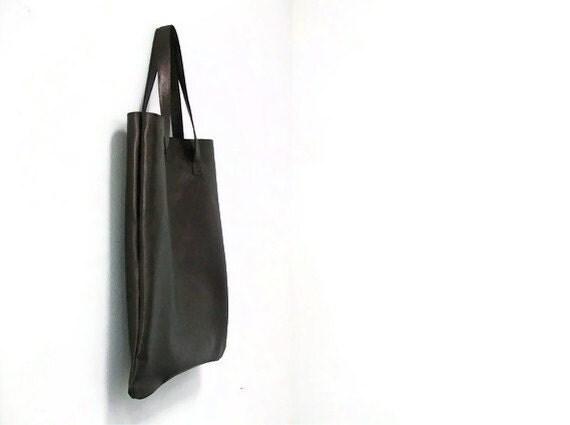 Bronze super soft laminated leather tote bag