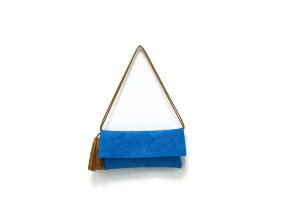 Turquoise  suede small bag with tan tassels