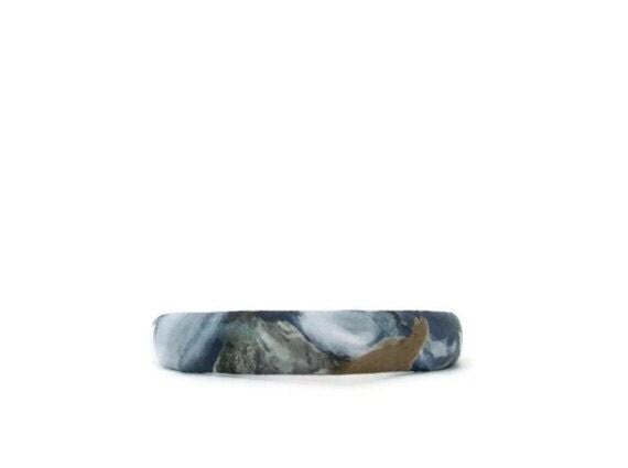 Blue,grey,white, leather headband