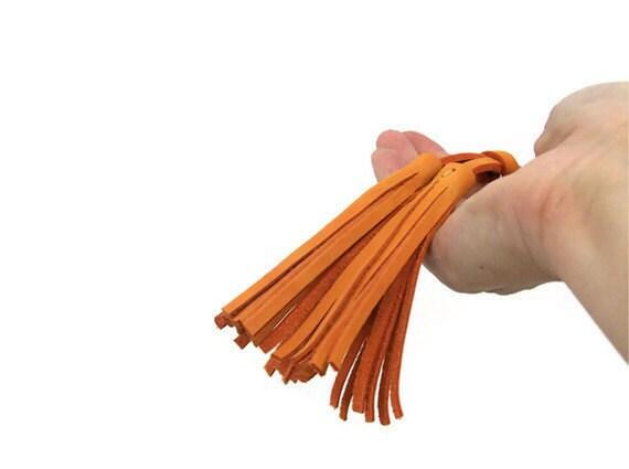 Orange Leather Nabuk Tassels Keychain