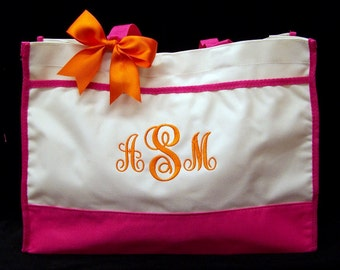 Personalized Tote Bag Bridesmaids Black, Lime Green, Hot Pink, Navy, or Red