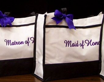 Set of 4 Personalized Tote Bags Bridesmaid Gifts Wedding Totes Bridal Party Gifts