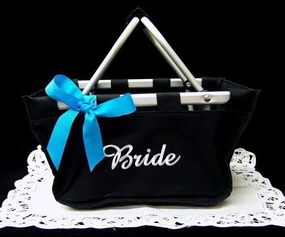 Market Basket Black Mini Collapsible Tote Bride Wedding