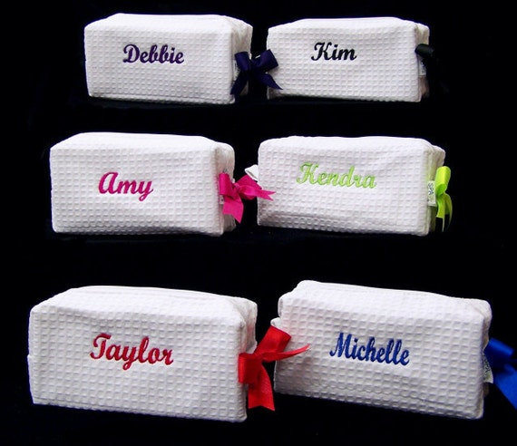 6 Personalized Small Waffle Weave SPA Cosmetic Bags Bridesmaid Gift