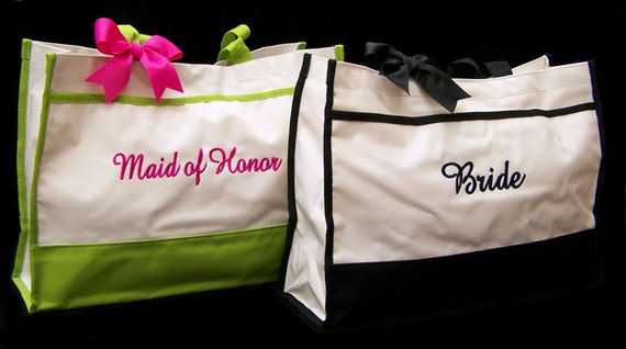 2 Personalized Tote Bags, Bride, Maid of Honor, Bridesmaids