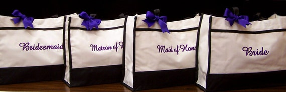 4 Personalized Tote Bags, Wedding, Bride, Maid of Honor, Bridesmaid Gifts