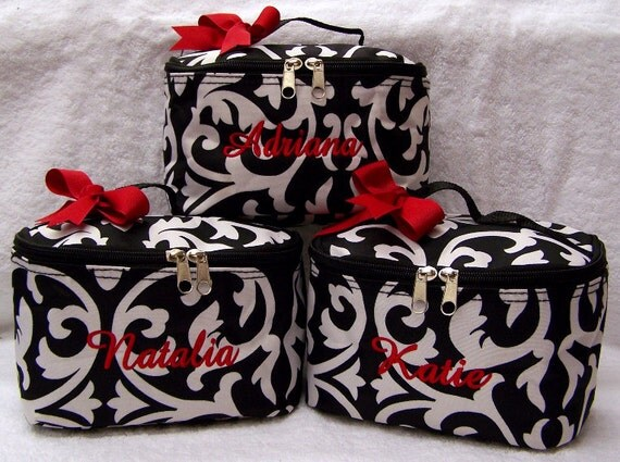 3 Personalized Cosmetic Case Black White Damask