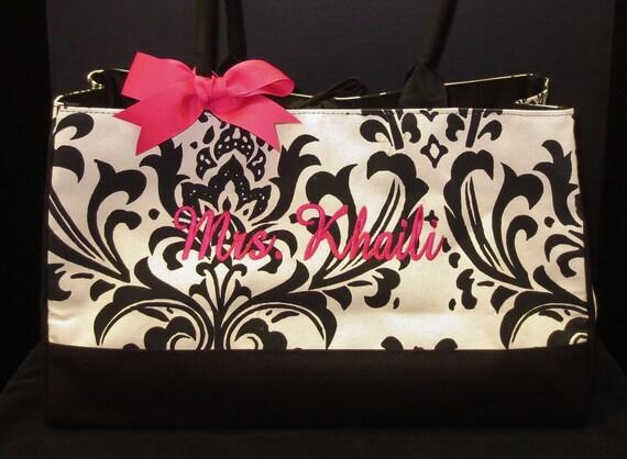Personalized Tote Bag Black Damask Wedding Bride Gift