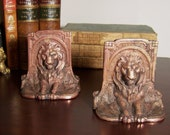 RECLINING LIONS in High Relief - Pair of Antique Copper Plated Cast Iron Bookends - Multiple Treasury Lists