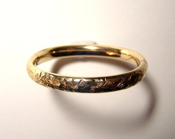 """VICTORIAN CHILD'S BRACELET  -  Gold Filled, Engraved With Flowers -5 1/2"""" (14 cm) Diameter"""