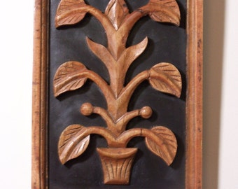 CARVED WALL PLAQUE - Handcarved Wood - Tropical Plant on Black Background