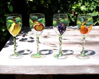 HANDPAINTED GOBLETS With FRUIT - Apple, Pear, Orange & Grapes - For Wine or Sangria