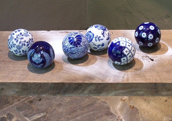 Six Ceramic Balls - Cobalt Blue & White - Handpainted and Transferware - Featured in 5 Treasury Lists