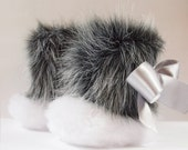 Personalized The Little Raccoon .....WINTER Shoes for your Baby Girl....  white and grey faux fur, satin ribbon