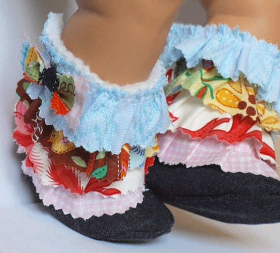 Personalized Frantic multicolored ruffles...WINTER shoes for Baby Girl... flounced booties