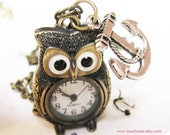 antique brass a cute owl pocket watch necklace with a lovely Silver anchor-----vintage