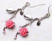 branch leaf pink rose earrings -----Antique plated silver