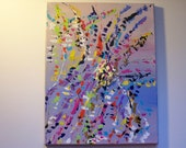 "Textured 3-D Pastel Colorful Abstract  Palette Knife 11"" x 14"" Painting"
