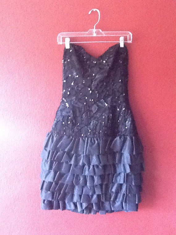 NOW ON SALE...80s Sparkly de Christian Dior Strapless Sequined Dress was 128.00