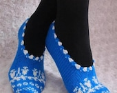 Hand Knitted Slippers in blue and white