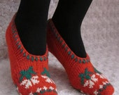 Hand  Knitted Slippers  in red wool ornaments , unique slippers