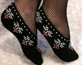 Wonderful Christmas Gift,Hand Knitted Black Slippers