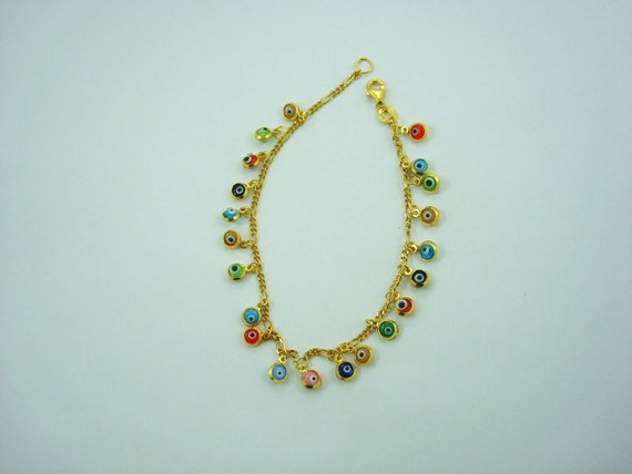 4bfbd4367 For Share: 18K gold plated over silver 925 multicolor evil eye good ...