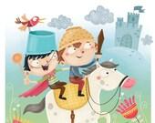 kids wall art, children wall decor, nursery room, cute illustration for kids, original print - Little knights