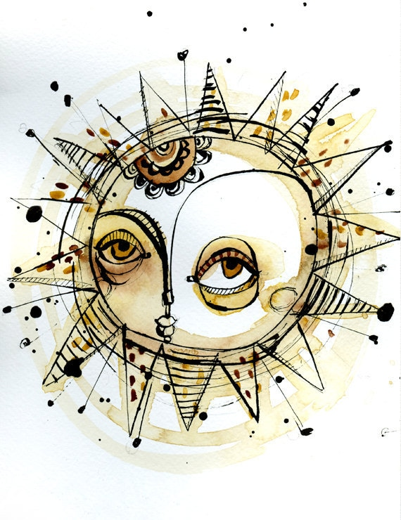 Sun is shining 02 (print of an original ink and watercolor illustration)
