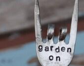 Garden On hand stamped Rock and Roll fork Garden Art - VintageGardenArt