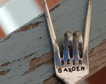 Beer Garden hand stamped Rock and Roll twisted Fork Garden Art