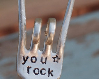 You Rock hand stamped Garden Art Rock and Roll Fingers
