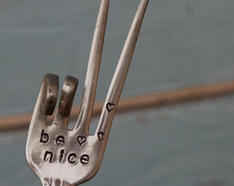 Be Nice hand stamped PEACE sign fork Garden Art