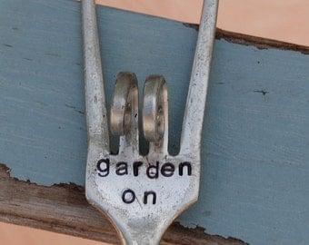 Garden On hand stamped ROCK and ROLL Fork Garden Art garden Marker