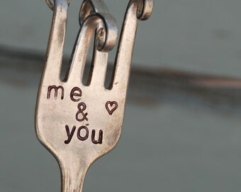 Me & You hand stamped Twisted Fork Garden Art Wedding or Shower Favor Centerpiece