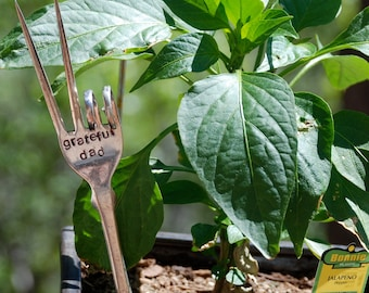 Grateful Dad hand stamped PEACE fork garden art (great for Fathers Day)