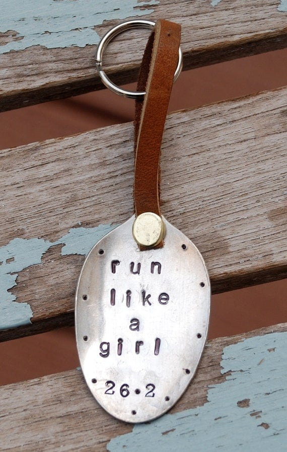 Run Like A Girl 26.2 Hand Stamped Keychain Vintage Spoon with Leather