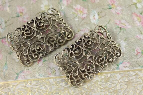 Vintage Gold Filigree MUSI Shoe Clips