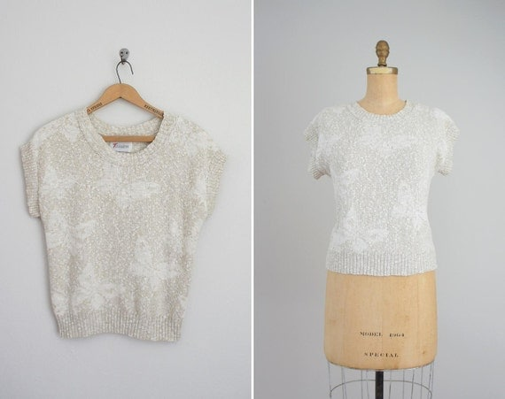 vintage 1980s knit top . 80s shirt . Subtle Butterfly