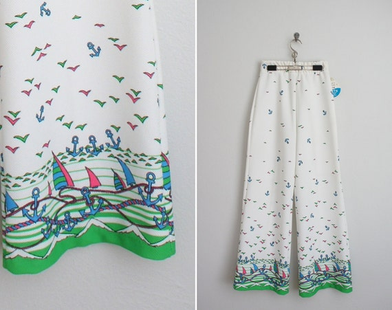 vintage 1970s bell bottoms . 70s pants . Sailboat Sweetheart