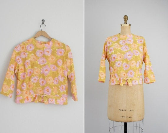 vintage 1960s blouse . 60s floral top . Ochre Rose