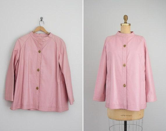 vintage 1960s mod leather coat . pink 60s jacket . Bonnie Cashin